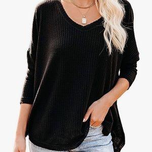 Amazon waffle knit long sleeve v-neck shirt